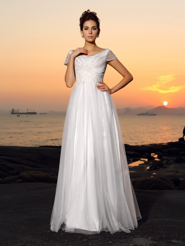 Classical A-Line Off-the-Shoulder Short Sleeves Long Tulle Beach Wedding Dress