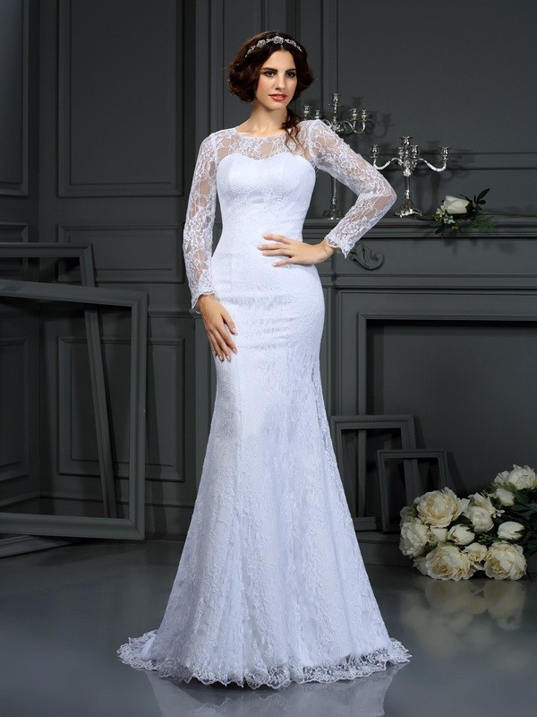 Gorgeous Sheath Scoop Lace Long Sleeves Long Satin Wedding Dress