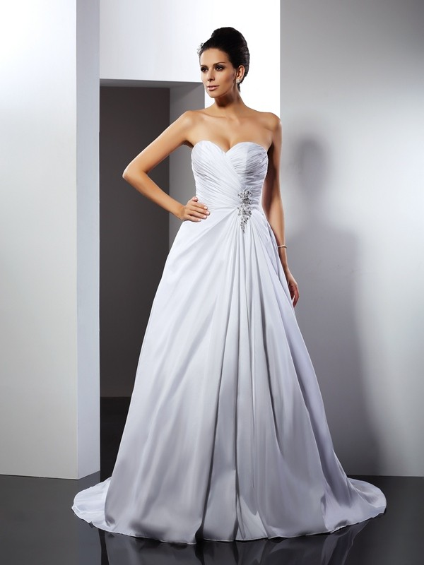 Gorgeous A-Line Sweetheart Sleeveless Long Satin Wedding Dress
