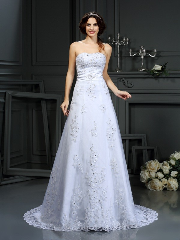 Gorgeous A-Line Strapless Sleeveless Long Satin Wedding Dress