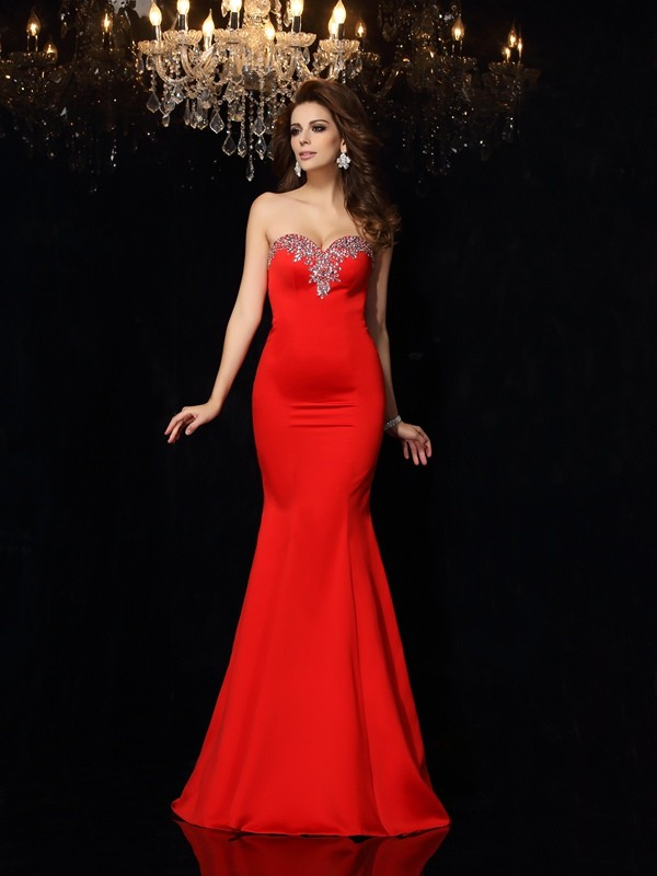 Unique Sheath Sweetheart Sleeveless Long Satin Dress