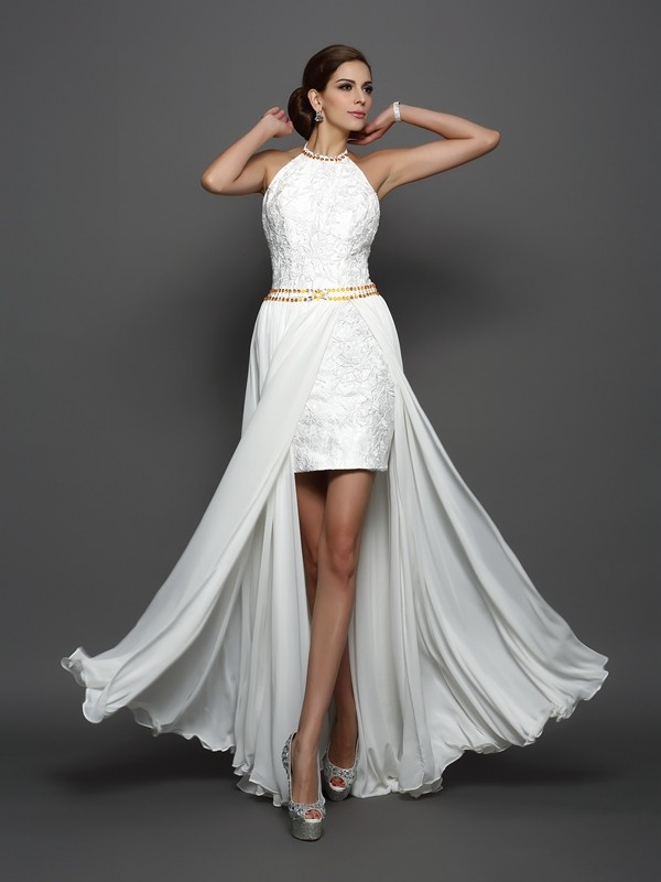 Unique A-Line High Neck Lace Sleeveless Long Chiffon Wedding Dress