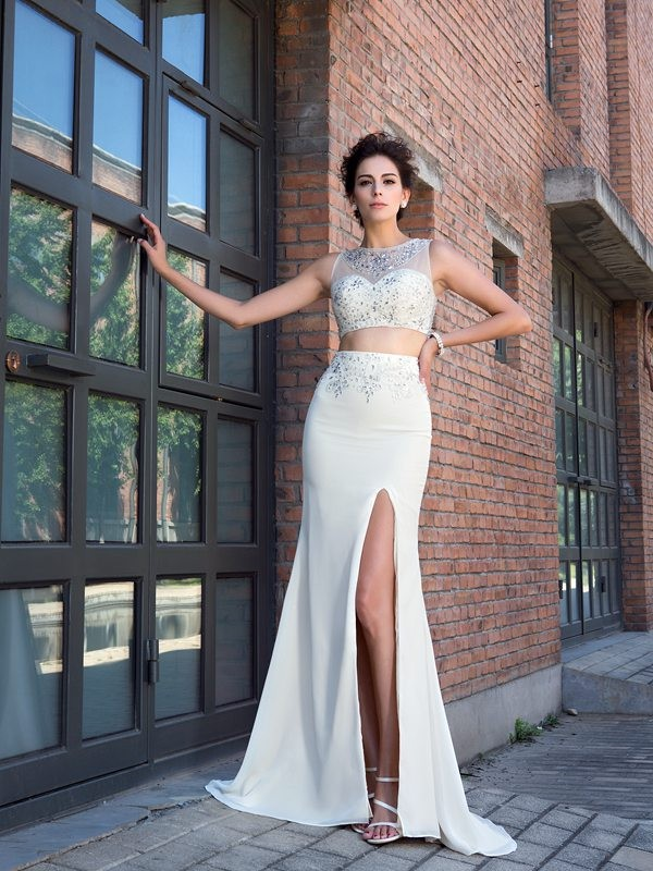 Nice Sheath High Neck Sleeveless Long Chiffon Two Piece Dress