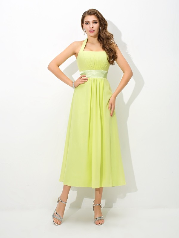 Nice A-Line Halter Sleeveless Long Chiffon Bridesmaid Dress