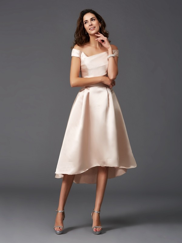 Nice A-Line Off-the-Shoulder Sleeveless High Low Satin Bridesmaid Dress