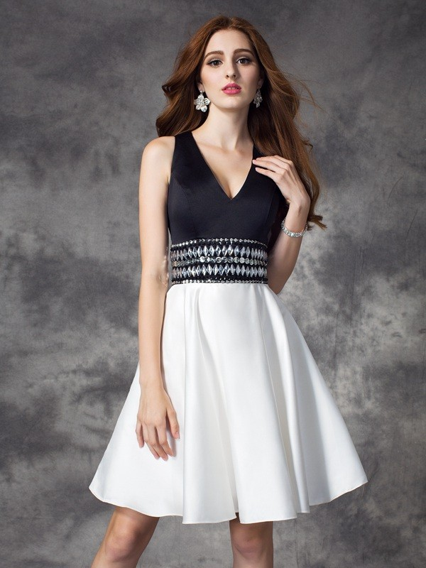 Nice A-Line V-neck Sleeveless Short Satin Dress