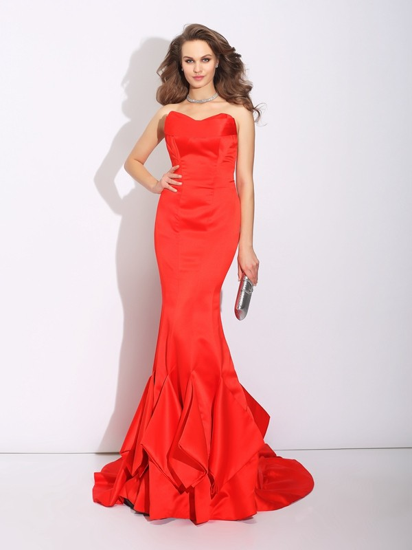 Amazing Mermaid Sweetheart Sleeveless Long Satin Dress