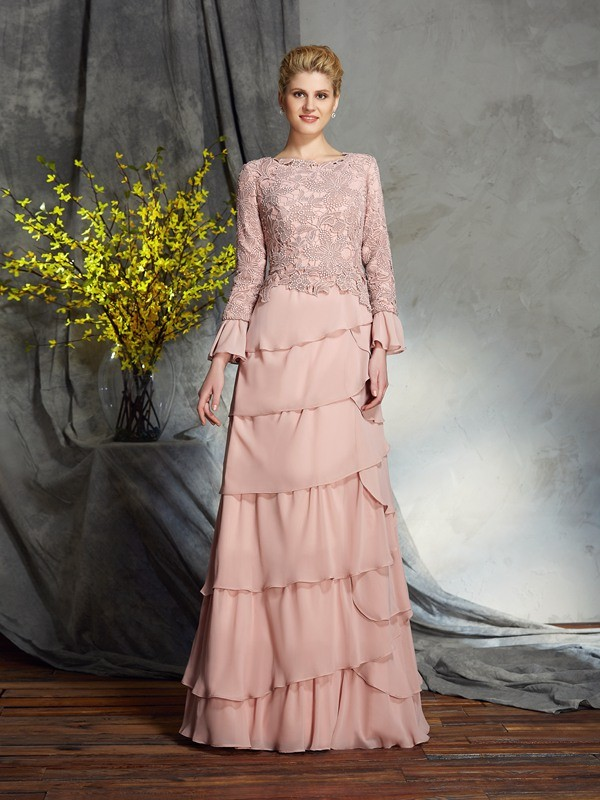 Amazing Sheath Scoop Long Sleeves Long Chiffon Mother of the Bride Dress