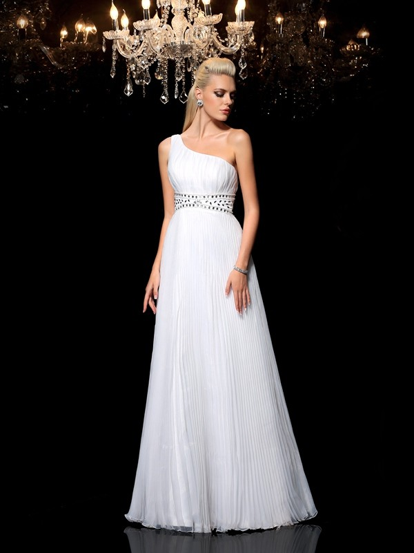 Glamorous A-Line One-Shoulder Sleeveless Long Organza Dress