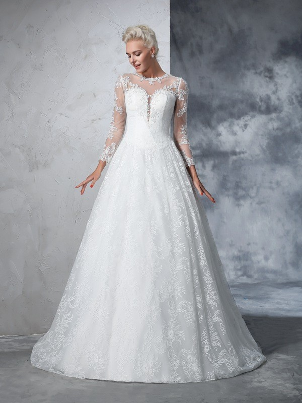 Glamorous Ball Gown Jewel Lace Long Sleeves Long Lace Wedding Dress