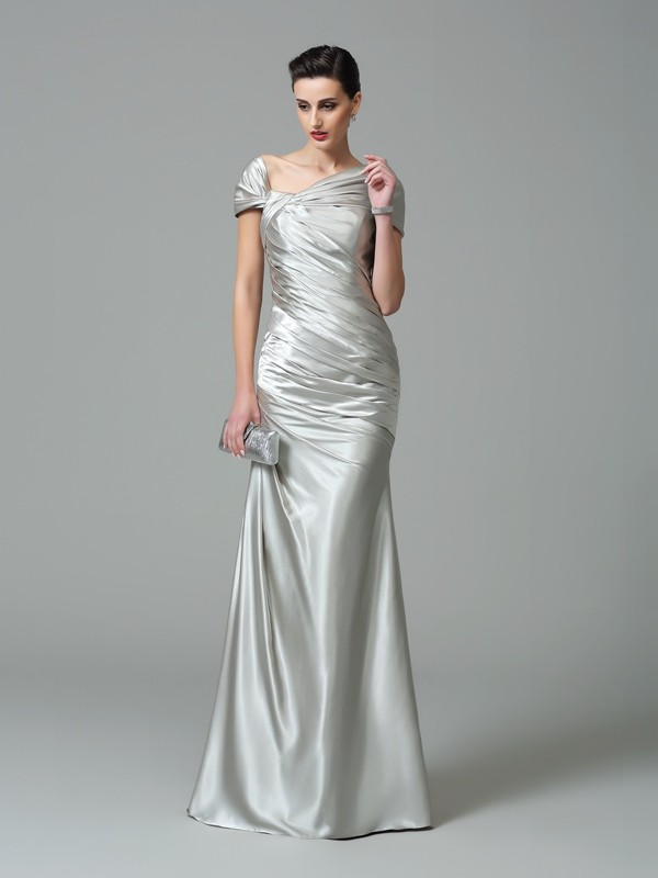Glamorous Sheath Off-the-Shoulder Sleeveless Long Silk like Satin Dress