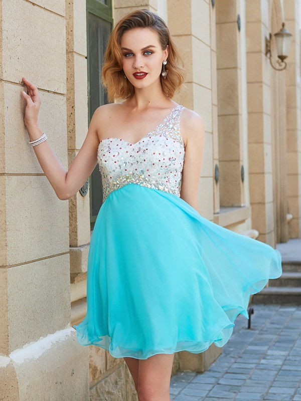 Beautiful A-Line Sleeveless One-Shoulder Chiffon Short/Mini Dress