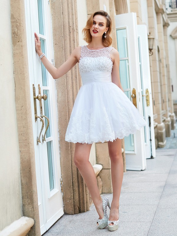 Beautiful A-Line Jewel Sleeveless Short/Mini Lace Dress