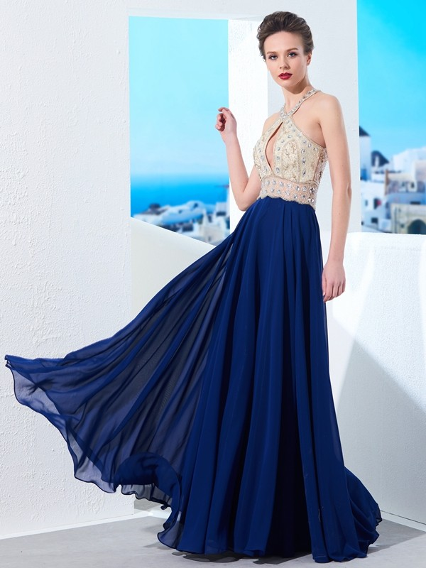 Affordable A-Line Sleeveless Straps Chiffon Floor-Length Dress