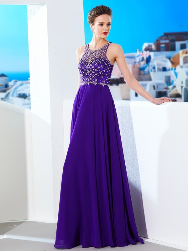 Affordable A-Line Sleeveless Chiffon Scoop Floor-Length Dress