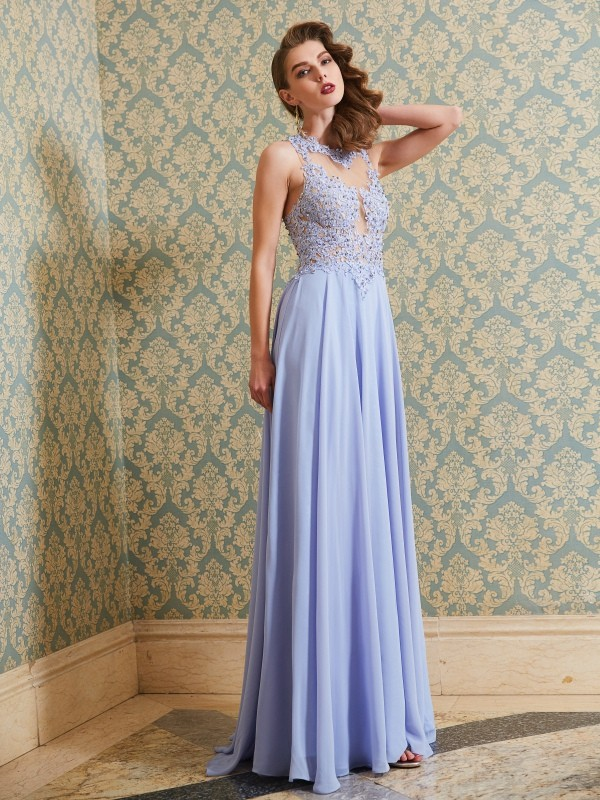 Affordable A-Line Scoop Sleeveless Floor-Length Chiffon Dress