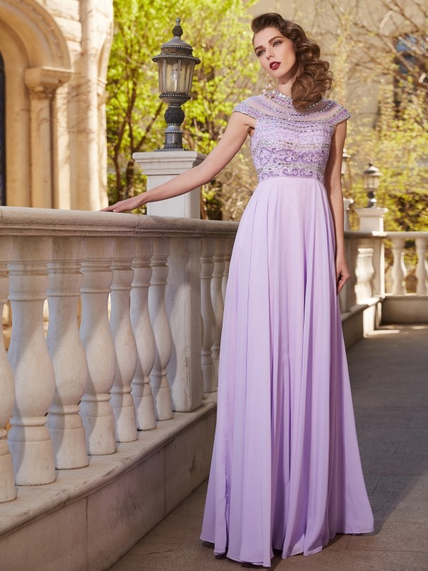 Affordable A-Line Scoop Short Sleeves Floor-Length Chiffon Dress