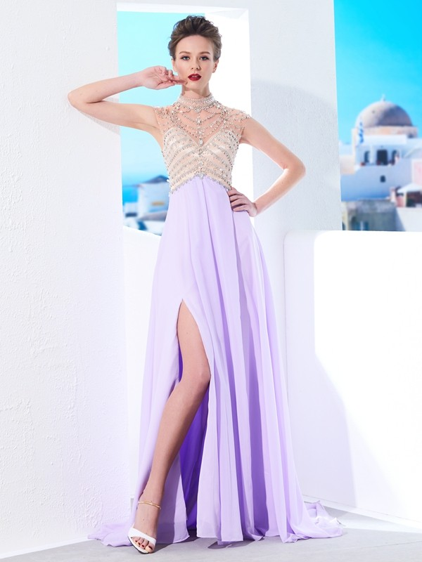 Affordable A-Line High Neck Sleeveless Sweep/Brush Train Chiffon Dress