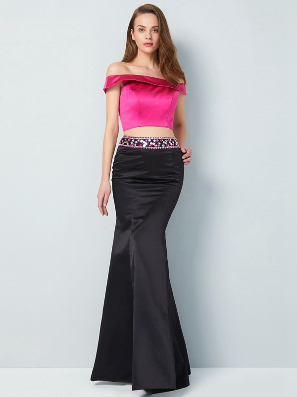 Affordable Mermaid Off-the-Shoulder Sleeveless Floor-Length Satin Two Piece Dress