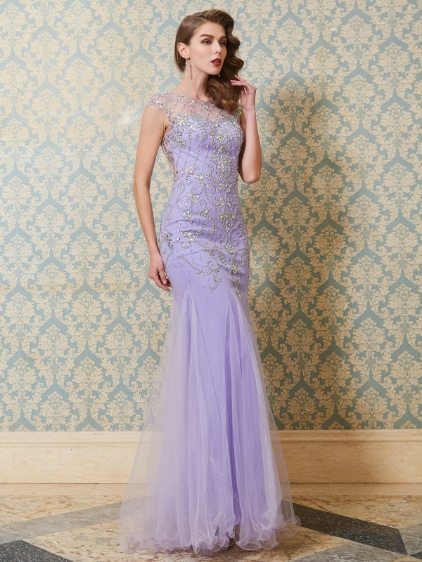 Best Mermaid Scoop Sleeveless Floor-length Tulle Dress