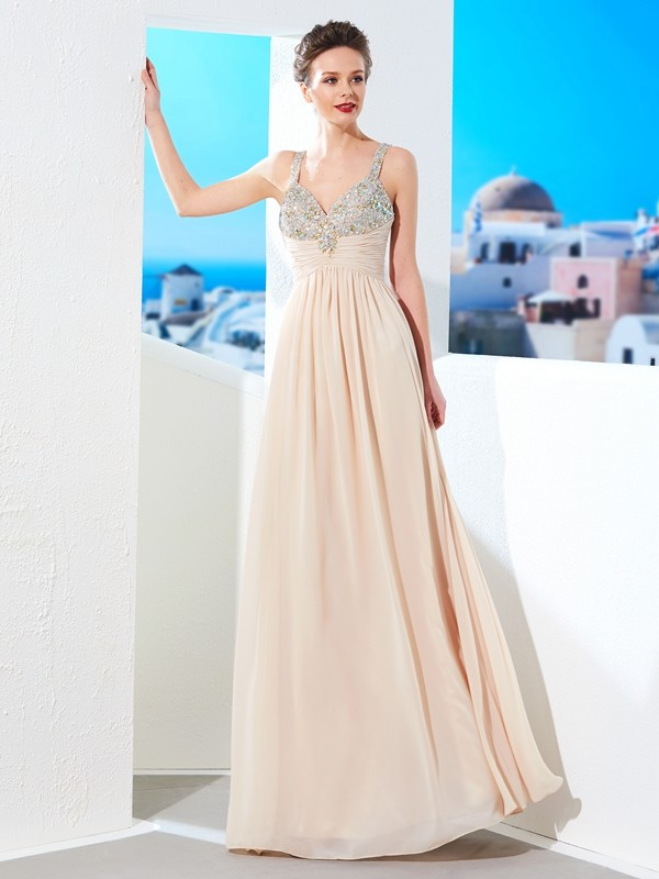 Affordable A-Line Spaghetti Straps Floor-Length Chiffon Dress