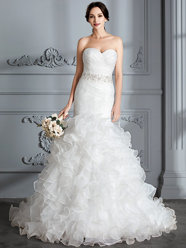 Fancy Mermaid Sweetheart Sleeveless Ruffle Sweep/Brush Train Satin Wedding Dress