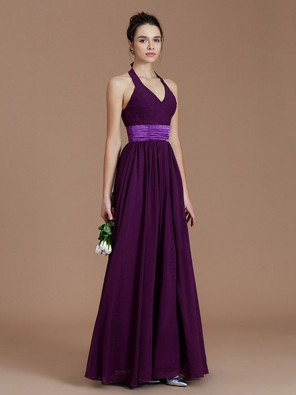 Fancy A-Line Halter Sleeveless Floor-Length Chiffon Bridesmaid Dress