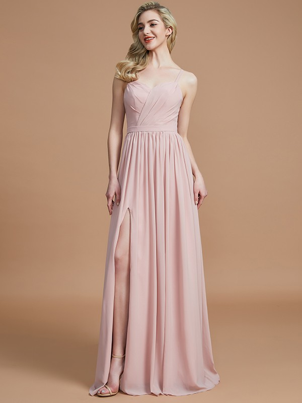 Gorgeous A-Line Spaghetti Straps Sleeveless Floor-Length Chiffon Bridesmaid Dress
