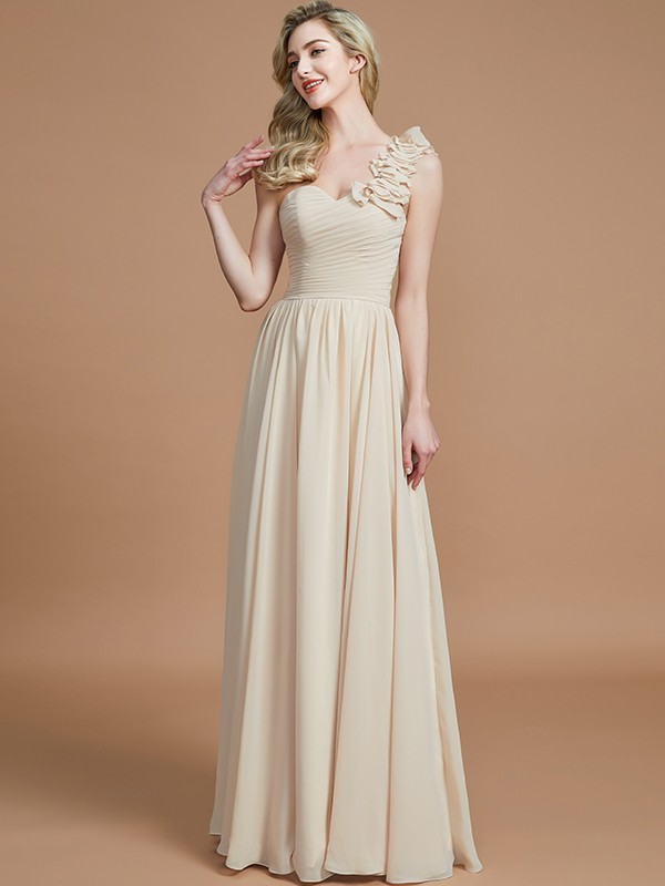 Gorgeous A-Line One-Shoulder Sleeveless Floor-Length Chiffon Bridesmaid Dress