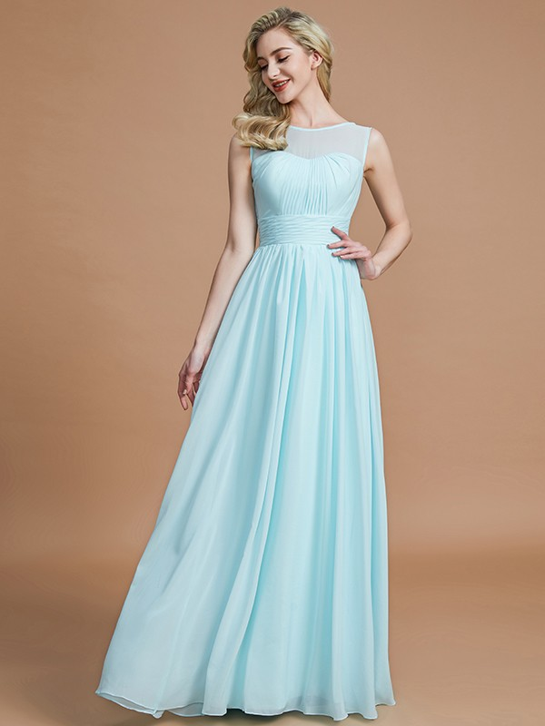 Gorgeous A-Line Scoop Sleeveless Floor-Length Chiffon Bridesmaid Dress