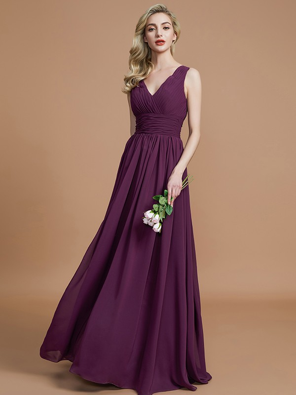 Gorgeous A-Line Sleeveless V-neck Floor-Length Chiffon Bridesmaid Dress