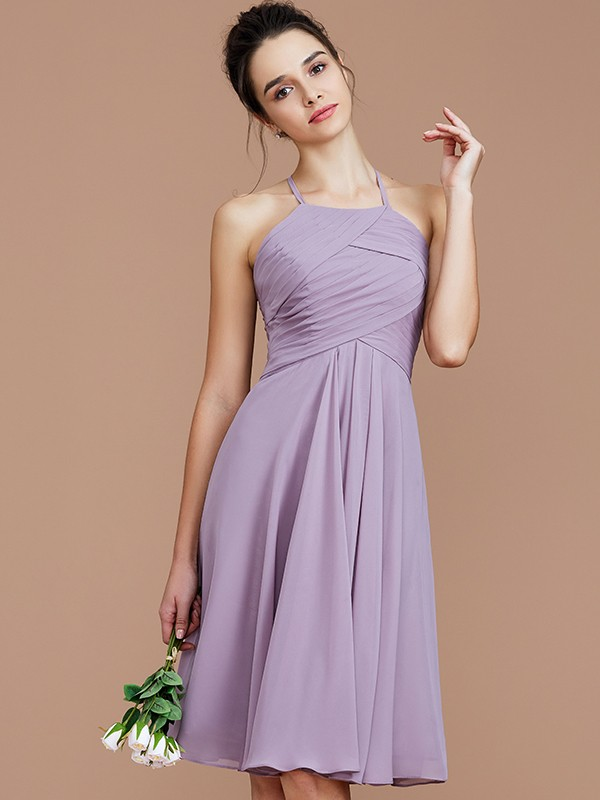 Fancy A-Line Halter Sleeveless Short/Mini Chiffon Bridesmaid Dress