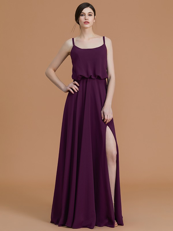 Unique A-Line Spaghetti Straps Sleeveless Floor-Length Chiffon Bridesmaid Dress