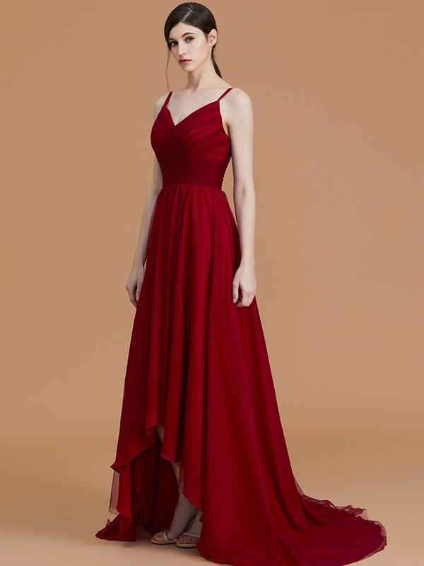 Unique A-Line Spaghetti Straps Sleeveless Asymmetrical Chiffon Bridesmaid Dress