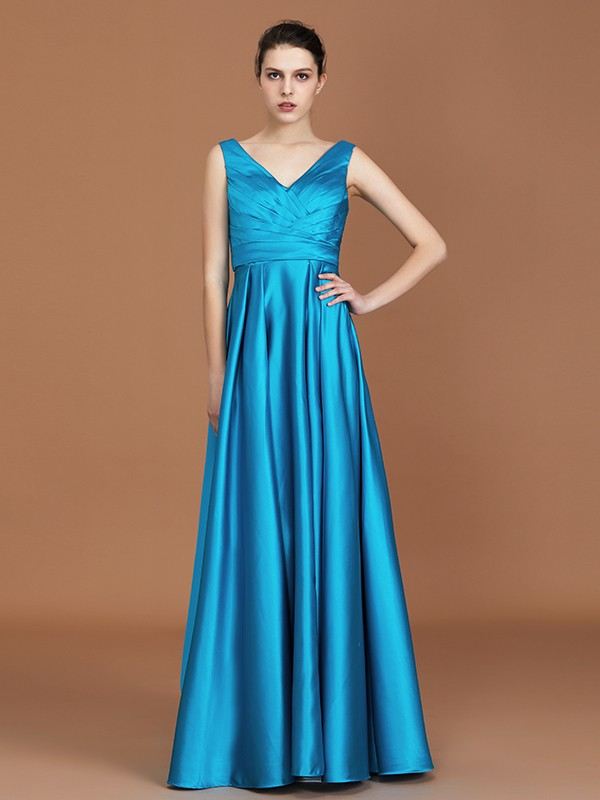 Cheap A-Line V-neck Sleeveless Floor-Length Satin Bridesmaid Dress