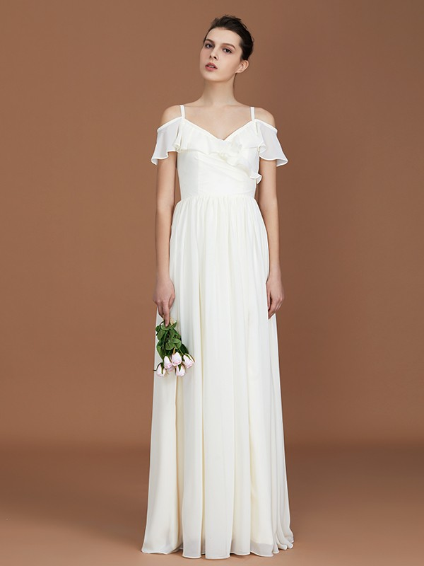 Fashion A-Line Short Sleeves Spaghetti Straps V-neck Floor-Length Chiffon Bridesmaid Dress