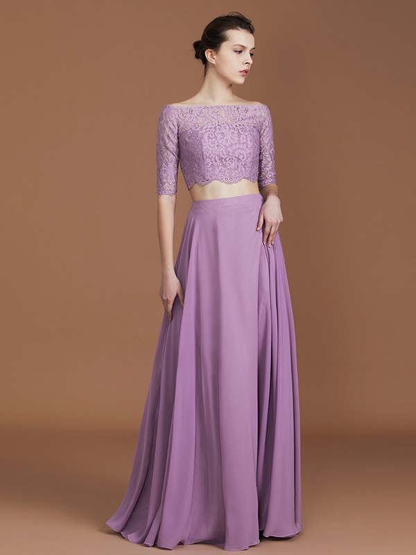 Nice A-Line Off-the-Shoulder 1/2 Sleeves Floor-Length Chiffon Bridesmaid Dress