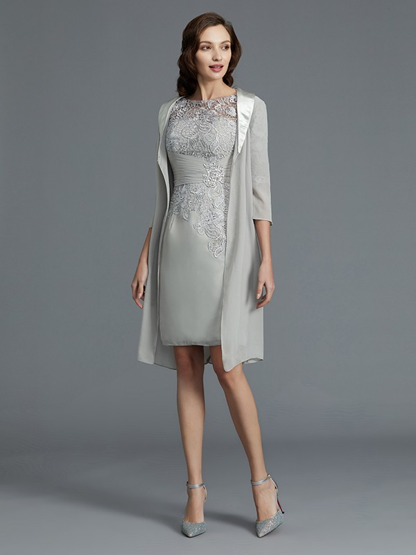 Gorgeous Sheath Scoop 1/2 Sleeves Chiffon Short/Mini Mother of the Bride Dress