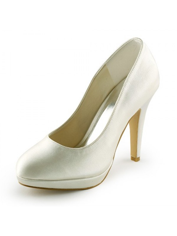 Exquisite Women Satin Stiletto Heel Closed Toe Platform Ivory Wedding Shoes