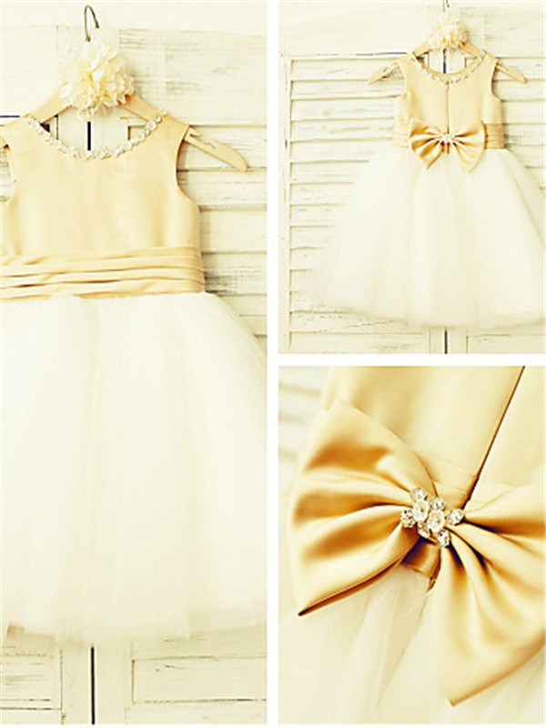 Gorgeous A-line Scoop Sleeveless Tea-Length Tulle Flower Girl Dress
