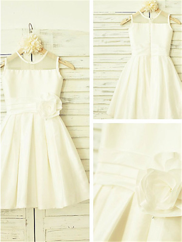 Fashion Princess Scoop Sleeveless Tea-Length Chiffon Flower Girl Dress