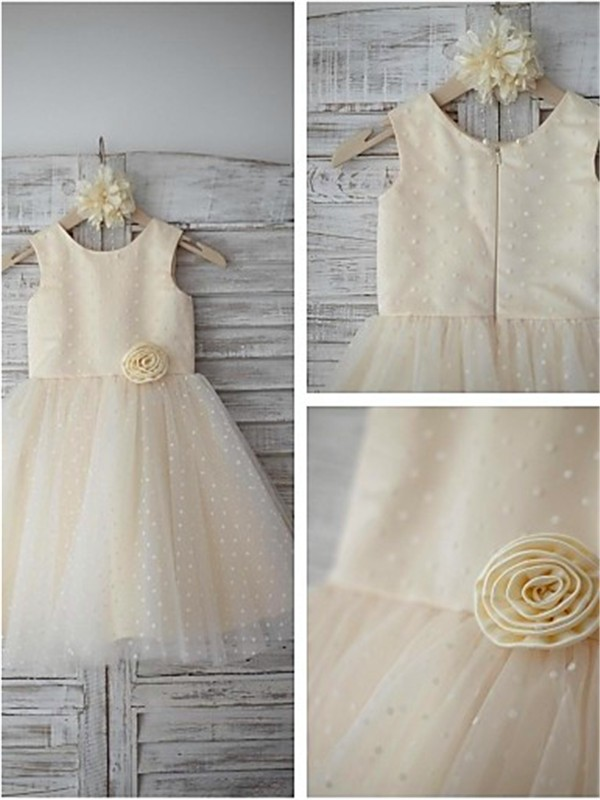 Nice A-line Scoop Sleeveless Tea-length Tulle Flower Girl Dress