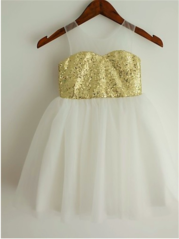 New Princess Scoop Tea-Length Tulle Flower Girl Dress