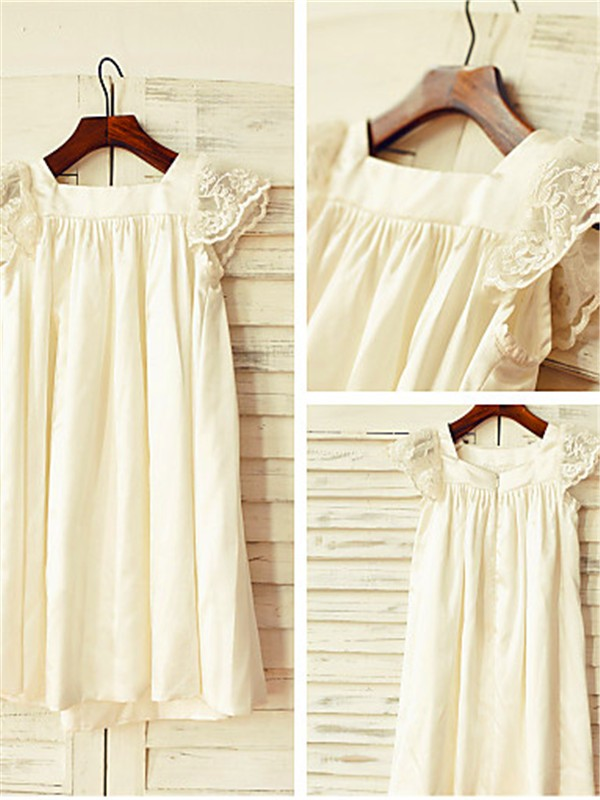 Chic Princess Scoop Short Sleeves Lace Tea-Length Chiffon Flower Girl Dress