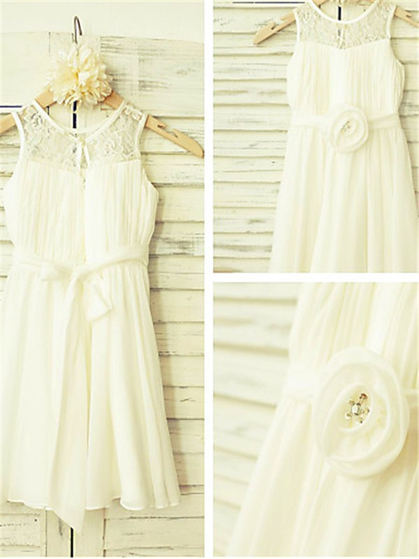 New A-line Scoop Sleeveless Tea-length Chiffon Flower Girl Dress