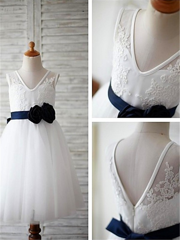 Amazing A-line V-neck Sleeveless Tea-length Tulle Flower Girl Dress