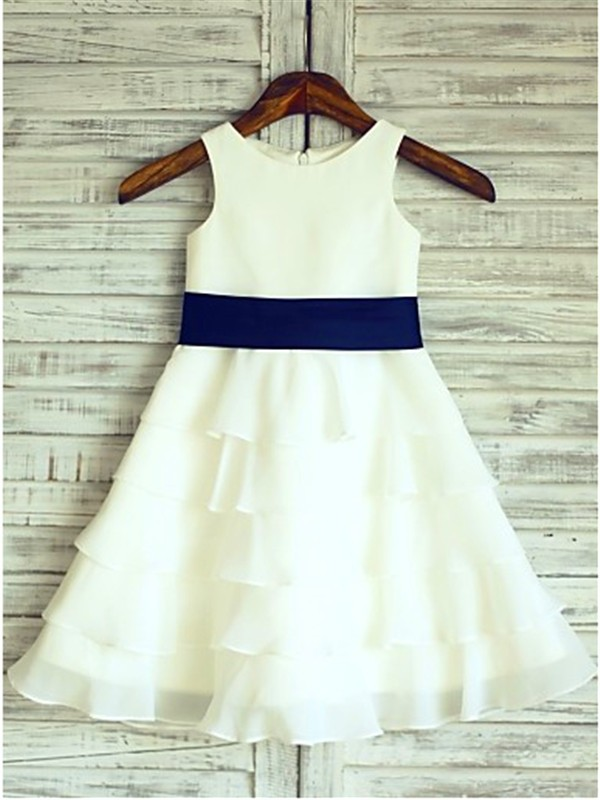 Elegant A-line Sleeveless Scoop Tea-length Chiffon Flower Girl Dress