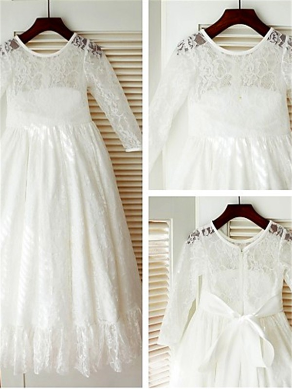 New A-line Scoop Long Sleeves Ankle-length Lace Flower Girl Dress