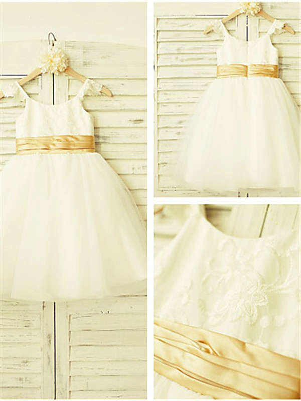 Beautiful A-line Spaghetti Straps Sleeveless Lace Tea-Length Tulle Flower Girl Dress