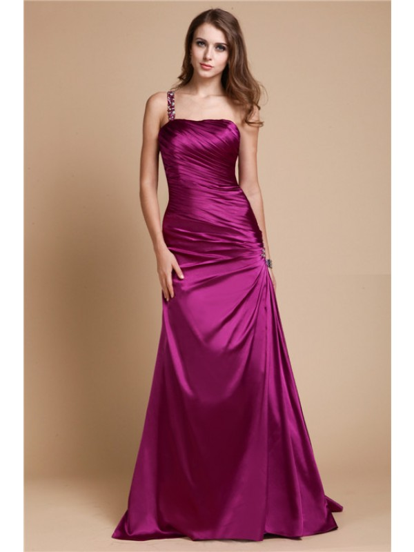 Hot Sale A-Line One Shoulder Sleeveless Long Elastic Woven Satin Dress